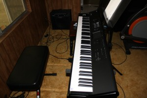 my Korg M50, and another amp, from the other side